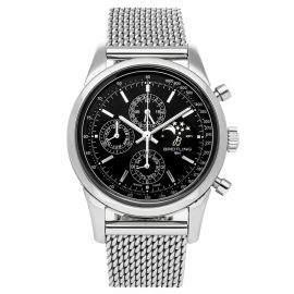 Breitling Black Stainless Steel Transocean Chronograph 1461 A1931012/BB68 Men's Wristwatch 43 MM
