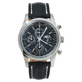 Breitling Black Stainless Steel Transocean Chronograph A19310 Men's Wristwatch 43 MM