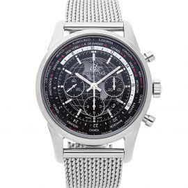 Breitling Black Stainless Steel Transocean Chronograph Unitime AB0510U4/BE84 Men's Wristwatch 46 MM