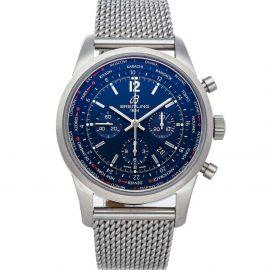 Breitling Blue Stainless Steel Transocean Chronograph Unitime Pilot AB0510U9/C879 Men's Wristwatch 46 MM