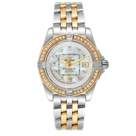 Breitling MOP Diamonds 18K Yellow Gold And Stainless Steel Cockpit D71356 Women's Wristwatch 32 MM