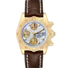 Breitling MOP Diamonds 18K Yellow Gold Windrider Cockpit B13355 Men's Wristwatch 39 MM