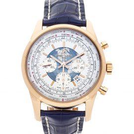 Breitling Silver 18K Rose Gold Transocean Chronograph Unitime RB0510U0/A733 Men's Wristwatch 46 MM