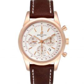 Breitling Silver 18k Rose Gold Transocean RB0152 Men's Wristwatch 43 MM, Brown