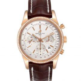 Breitling Silver Diamonds 18K Rose Gold Transocean RB0152 Men's Wristwatch 43 MM
