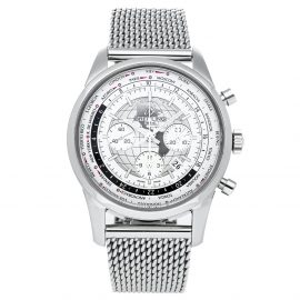 Breitling Silver Stainless Steel Transocean Chronograph AB0510U0/A790 Men's Wristwatch 46 MM