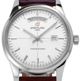 Breitling Transocean Day-Date A4531012.G751.433X.A20BA.1, Baton, 2013, Good, Case material Steel, Bracelet material: Leather