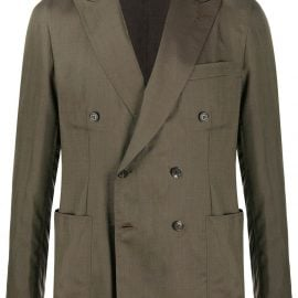 Brioni double-breasted blazer jacket - Green