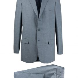 Brioni single-breasted gingham check suit - Blue