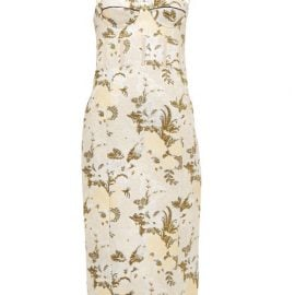 Brock Collection - Floral-brocade Bustier Midi Dress - Womens - Green Multi