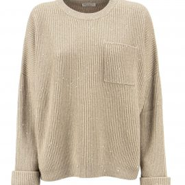 Brunello Cucinelli Dazzling & Sparkling Cashmere And Wool Rib Sweater With Breast Pocket