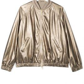 Brunello Cucinelli Kids TEEN metallic jacket - Gold