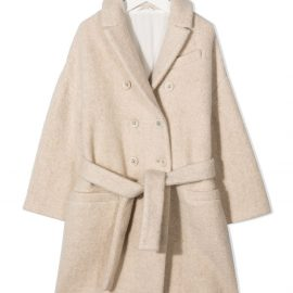 Brunello Cucinelli Kids double-breasted wool coat - White