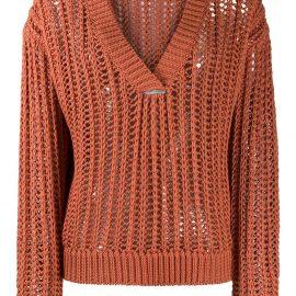 Brunello Cucinelli V-neck open knit sweater - Orange