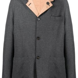 Brunello Cucinelli contrast lapels blazer - Grey