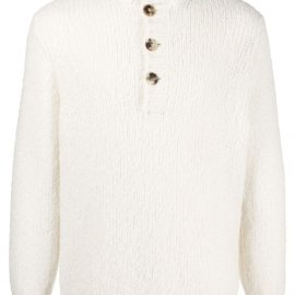 Brunello Cucinelli high-neck buttoned sweater - White