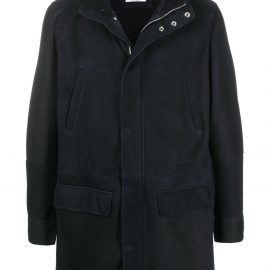 Brunello Cucinelli hooded leather coat - Blue