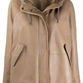 Brunello Cucinelli hooded leather jacket - Brown