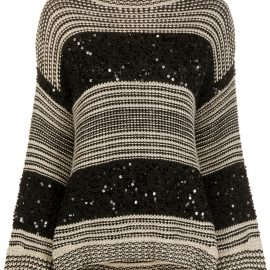 Brunello Cucinelli sequin-stripe oversized sweater - Black