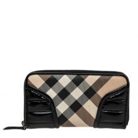 Burberry Beige/Black Nova Check PVC And Patent Leather Zip Around Wallet