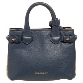 Burberry Blue Leather And House Check Fabric Mini Banner Tote