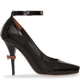 Burberry D-ring Detail Patent Leather Peep-toe Pumps - Black