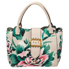 Burberry Floral Print Leather The Medium Buckle Tote