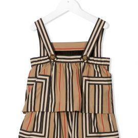 Burberry Kids Icon stripe poplin playsuit - Brown