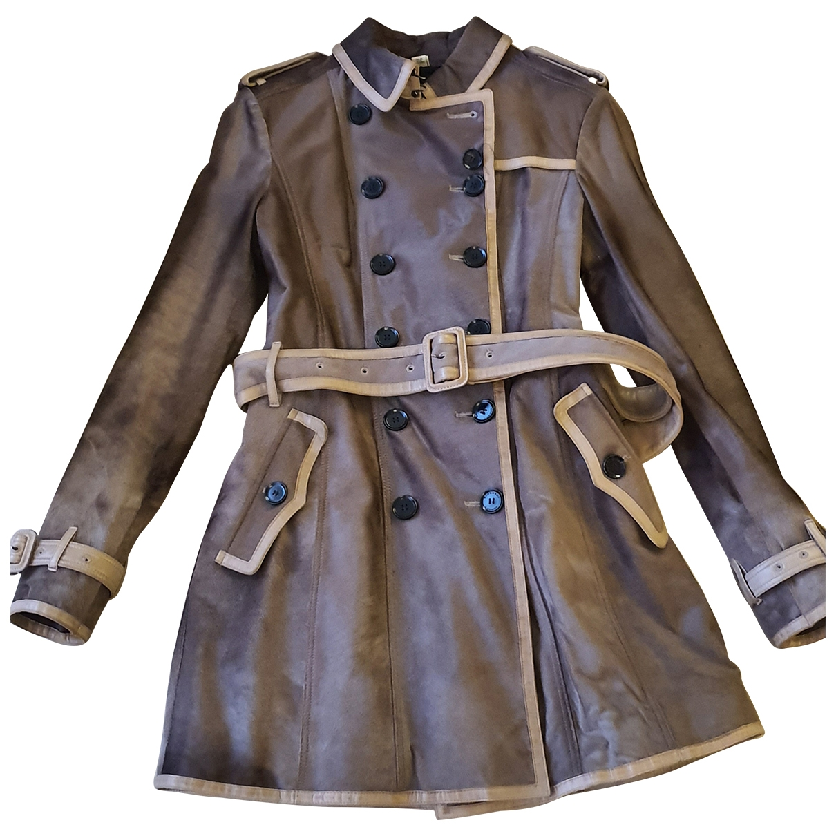 Burberry N Brown Leather Trench Coat for Women