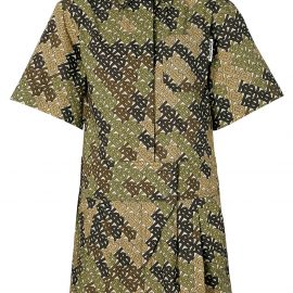 Burberry Short-sleeve Monogram Print Shirt Dress - Green
