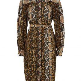 Burberry animal print shirt dress - Brown