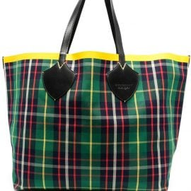 Burberry contrast-tape checked tote - Green