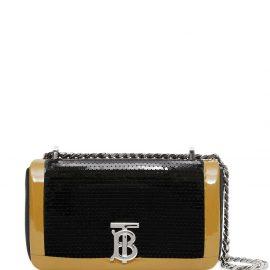 Burberry mini tape detail sequined Lola bag - Black