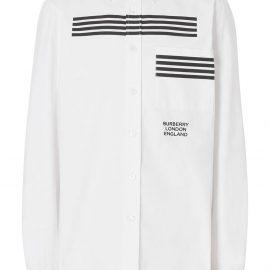 Burberry stripe print Oxford shirt - White