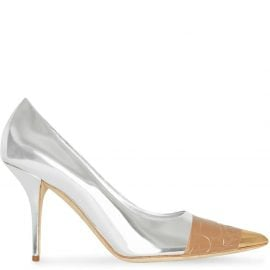 Burberry tape detail mirrored pumps - SILVER