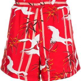 Buscemi bamboo print swim shorts - Red