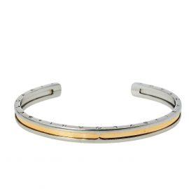 Bvlgari B.Zero1 18K Rose Gold & Steel Open Cuff Bracelet M