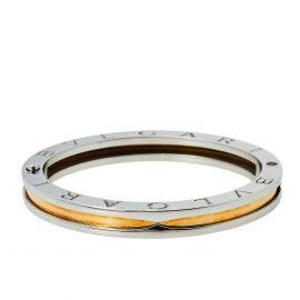 Bvlgari B.Zero1 Stainless Steel & 18K Rose Gold Oval Bangle Bracelet S