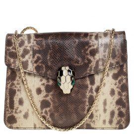 Bvlgari Beige/Brown Karung Serpenti Forever Shoulder Bag