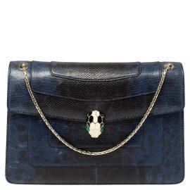 Bvlgari Blue Karung Medium Serpenti Forever Flap Shoulder Bag