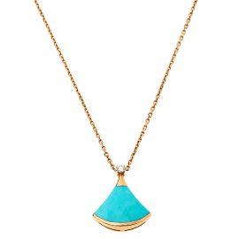 Bvlgari Divas' Dream Turquoise Diamond 18K Rose Gold Pendant Necklace