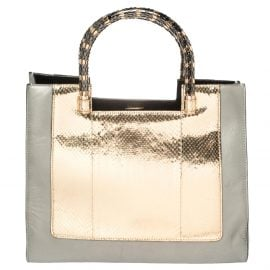 Bvlgari Gold/Silver Leather and Kurung Serpenti Scaglie Tote