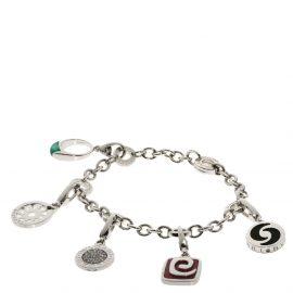 Bvlgari Multi Charms 18K White Gold, Onyx, Rhodonite Bracelet 15