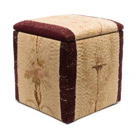 By Walid Rose Bouquet needlework storage pouffe - Red