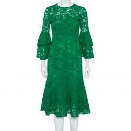 CH Carolina Herrera Green Lace Bell Sleeve Detail Midi Dress S