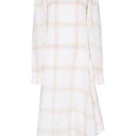 Calvin Klein 205W39nyc check print silk midi dress - Neutrals