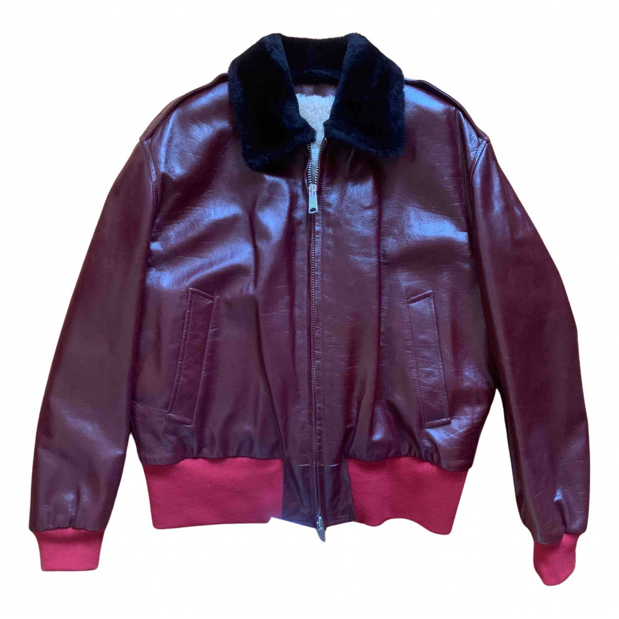 Calvin Klein 205w39nyc N Burgundy Leather Leather Jacket for Women