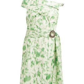 Calvin Klein - Crystal-buckle Floral-print Taffeta Dress - Womens - Green White
