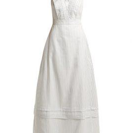Calvin Klein - Ruffled Striped Silk-blend Gown - Womens - Light Blue