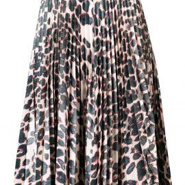 Calvin Klein leopard print pleated skirt - Neutrals
